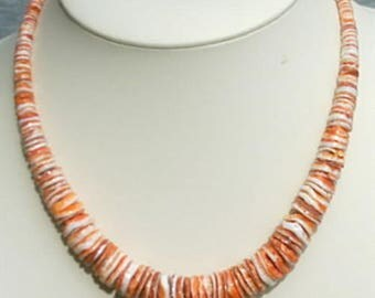 Graduated Spiny Oyster Disk Necklace