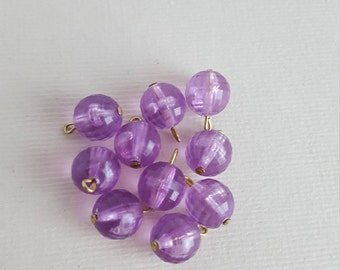 Vintage faceted purple lucite beads