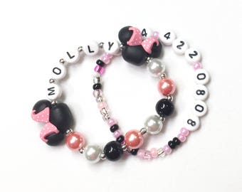 Mini Mouse inspired Jewelry Name and Phone Number ID Bracelet, ICE. Cell Phone, Medical Alert, Allergy Info. Mini mouse ears Polka Dot Bow