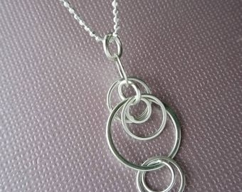 ripples - stacked hoop sterling silver necklace