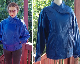TRUE Blue 1980's Vintage Solid Primary Blue Leather Motorcycle Jacket with Cinch Waist // by Nordstrom BRASS Plum // size Medium