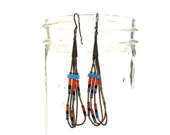 Zuni Heishi Earrings / Vintage Long Beaded Turquoise Coral & Sterling Silver Dangle Earrings for Pierced Ears / Hippie Boho Ethnic Navajo