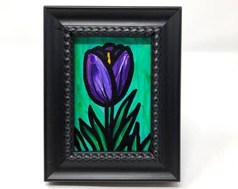 Purple Tulip Painting - Bookshelf or Desk Painting for Her - Original Art - Small Framed Art - Floral Desk Accessories by Claudine Intner