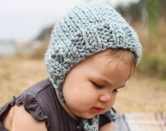 Knit Baby Bonnet, Blue Winter Hat for Babies, Cozy Baby Hat for Winter, Chunky Knit Bonnet for Babies