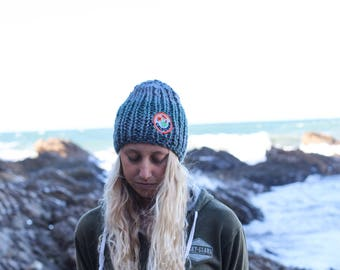 California Poppy Blue Knit Beanie, Adult Winter Hat