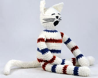 willie - white burnt orange navy blue striped plush crocheted cat softie stuffed animal