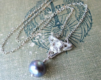Flower Necklace with Tahitian Pearl Drop in Sterling Silver June Birthstone Cherry Blossom Bridal Necklace Gray Pearl Necklace