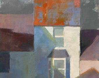 Narrow House, townscape oil painting, direct from artist
