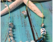 Adjustable Shell, Turquoise, Faceted Amazonite, Amethyst, Opal and Sterling Silver Hemp Choker