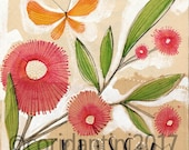 Original Watercolor orange butterfly and pink flowers  ON SALE
