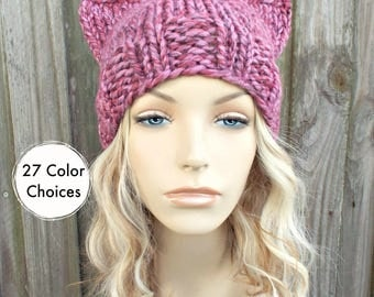Mixed Pink Cat Hat - Womens Winter Knit Beanie in Wild Strawberry - Pink Pussyhat Pink Pussy Hat - 27 Color Choices