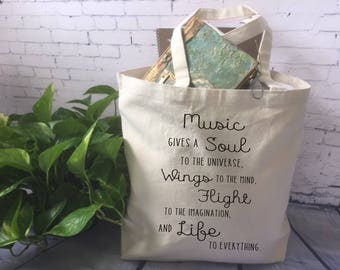 music lover canvas tote bag/ music book bag/ music student tote/ music teacher gift/ music gives a soul to the universe/ musician gift