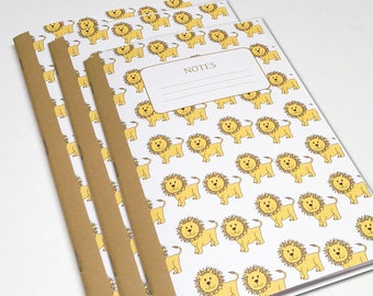 Lion Notebooks - Buy 2 Get 1 Free - Set of 3  - Journal - School Notebooks - Bullet Journal - Travelers Notebook - Lion Notebooks for Kids