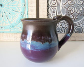 Coffee Cup, Plum, Chocolate and Periwinkle Mug, 14 oz, Ready to Ship