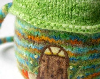 Fall Pumpkin Gnome Home + Wool Toy Pouch: Wee Dwellings, Pumpkin Lane (Felted Wool Gnome or Fairy Home, Play & Storage)