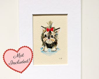 Original yorkie dog portrait drawing small original aceo mini illustration in colored pencils mat included 4x6 by TASCHA yorkshire terrier