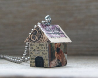 Funky Little DOG HOUSE Charm Pendant Necklace Keychain - Puppy Pug Love - Art By Heather - Ready To Ship