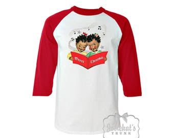 Christmas Shirt - African American Christmas Shirt - Baseball Red Shirt - Merry Christmas Womens - Retro Adult Unisex XS S M L Xl 2Xl 3XL