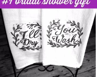 You Wash I'll Dry Tea Towel, Flour Sack Towel, Dish Towel,Housewarming Gift,Dish Towel,Hostess Gift, Farm House Decor,Block Printing,Kitten