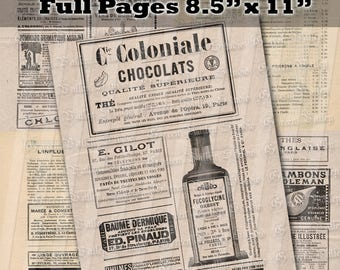 "INSTANT DOWNLOAD Set of 5 Digital Download Sheets France Vintage French Magazine Ads Full Pages 8.5"" x 11"" (Set Mag11-15)"