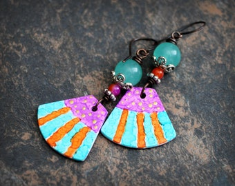 Striped fun. Artisan made earrings. Colorful boho earrings. Polymer clay. Quartz and Solid copper. Abstract style earrings.