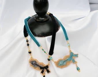 Gold JEWEL FEATHER Ribbon Choker Necklace