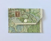 Small Snap Wallet - Vintage Map & Vinyl