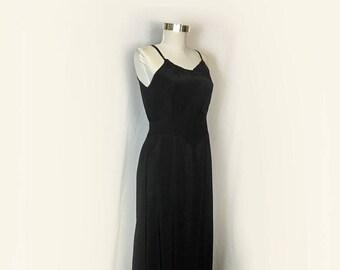 Vintage Black Full Slip, 1950's, Rayon, Corette, Embroidery, Medium