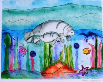 Manatees Watercolor, Manatees Painting, Manatees Print, Manatees Underwater, Manatees Beach Art, Manatees Beach House, Manatees With Fish