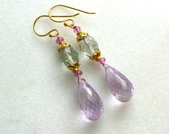 Gorgeous Modern Prasiolite, Pink Topaz Drop Earrings in 14kg fill