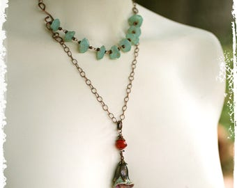 Flower Pendant Necklace, Pale Green Stone Necklace Multistrand, Rustic Bohemian Floral Layered Necklace, OOAK, Handcrafted Gift for Her