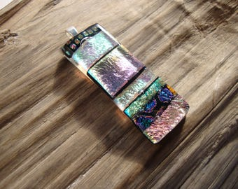 Fused Glass Pendant - Dichroic Glass - Fused Glass Jewelry