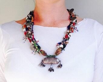 Beaded Taviz Capsule Amulet Tribal Necklace 1. Rabari Gujarat