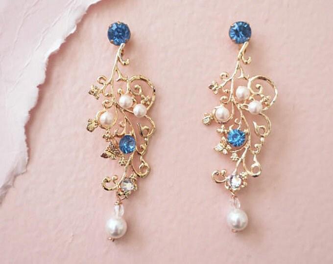 Blue Gold Leaf Earrings