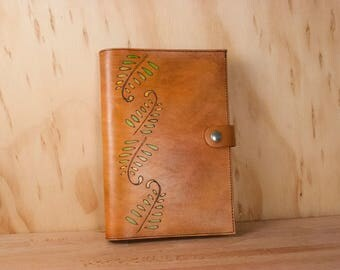 Sketchbook Cover - Leather Journal or Sketchbook in the Rowan Pattern with Fern Fronds - Green and Antique Tan