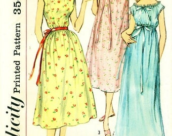Simplicity 2012 NIGHTGOWN 1950s Short or Long Bust 36 ©1957