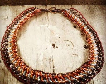 western sunset orange hombre seed beaded collar necklace