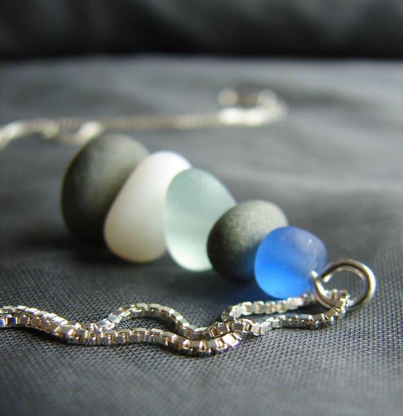 Sea Stack sea glass necklace in cornflower blue, seafoam, white and stone