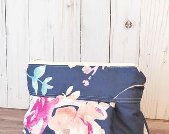 Makeup Bag No. 1  in Blue Roses with Wipeable Lining