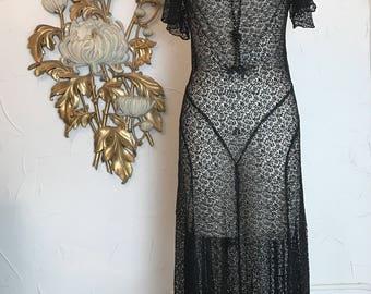 RESERVED 1930s dress lace dress sheer dress flutter sleeve dress bias cut dress film noir size medium 36 bust vintage dress
