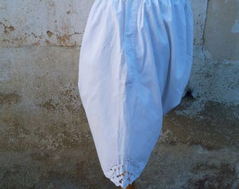 Vintage 1900s Edwardian French bloomers closed crotch /white cotton pantalons size  S