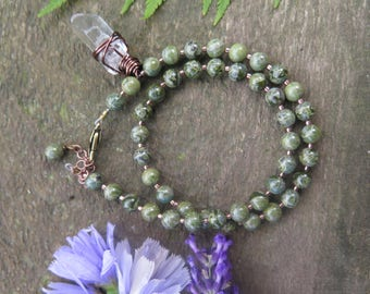 Green Jasper Double Wrap Bracelet - Clear Quartz Dangle - Gemstone Olive - Natural Bohemian - Festival Boho Fashion Choker Necklace - Meadow