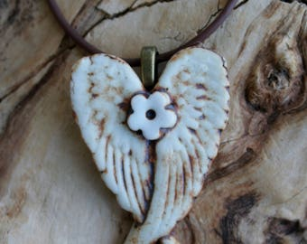 Rustic Flower Winged Porcelain Pendant 2