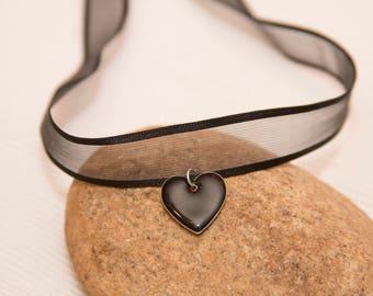 Black ribbon choker, black heart choker, heart charm, black choker, heart charm choker, black choker necklace, heart charm choker
