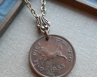 One Pice, Reversible Vintage Coin Necklace, 1953, Jumping Horse, India
