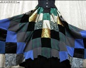 Hedgewitch Patchwork Skirt by Kambriel - Very Full Cut with Batwing Handkerchief Hem - One of a Kind - Brand New & Ready to Ship!