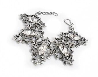 Swarovski Crystal Bracelet Silver Filigree Bracelet Victorian Gothic Bracelet Leaves Romantic Gothic Jewelry Gothic Gift For Her