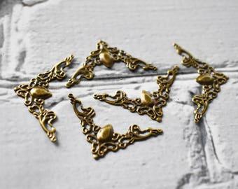 Antique Brass Thin Corner Filigree- Scrapbooking Metal Filigree- Corner Shape Filigree Piece- Small Altered Art Supply -Pack of 20