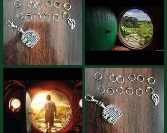 Hobbit and Lord of the Rings inspired Ring Stitch Markers, Lorien ring markers, knitting, stitchmarkers, progress keeper, clip on charm