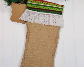 Christmas Burlap Stocking Red And Green Stripes With White Eyelet Trim Christmas Decoration
